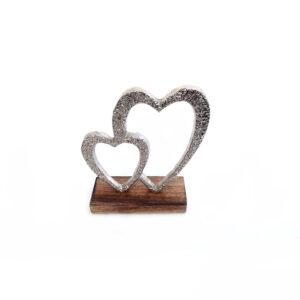 Double Silver Love Heart on Wooden Plinth