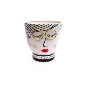 Ceramic Vase Ladies Face with Glasses