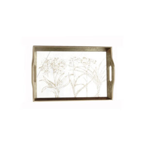 Mirrored Rectangular Tray with Design – Small
