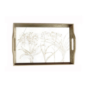 Mirrored Rectangular Tray with Design – Large